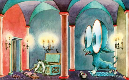 The Tinderbox illustration by innovative Swiss artist, Heinrich Strub, 1956. © Heinrich Strub